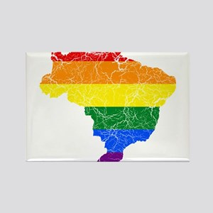 Brazil Rainbow Pride Flag And Map Rectangle Magnet